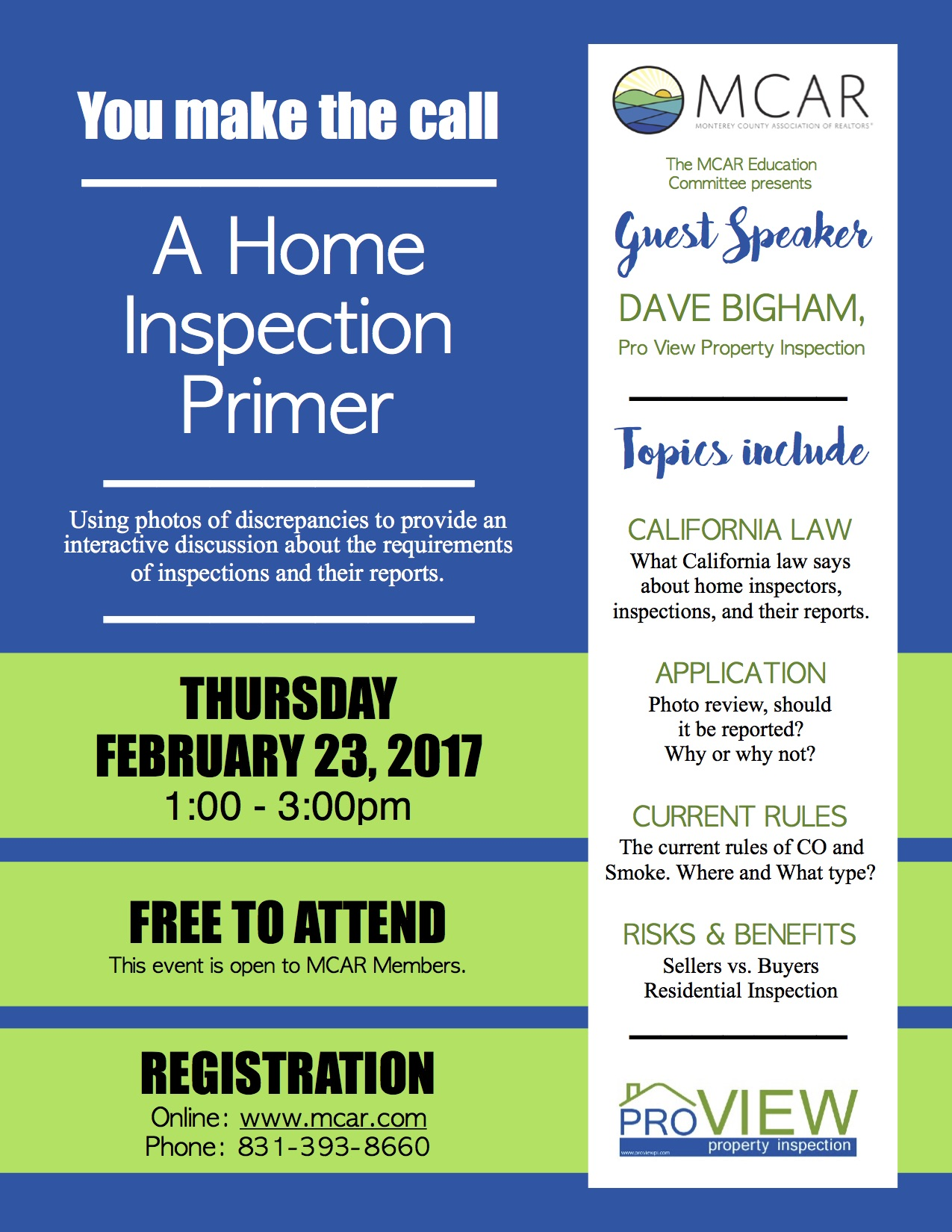 Home Inspection Event Mcar